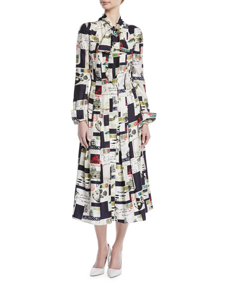 TIE-NECK LONG-SLEEVE POSTCARD-PRINT MIDI SILK SHIRTDRESS