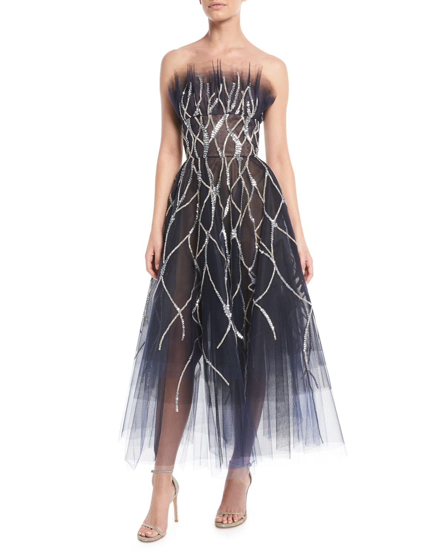 Oscar de la Renta Strapless Crystal-Embellished Tulle Tea-Length ...