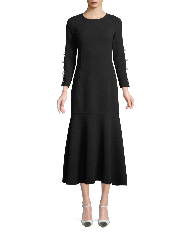 3a2084b59eb8fc Oscar de la RentaJewel-Neck Long-Sleeve Wool Tea-Length Cocktail Dress with  Pearlescent Trim