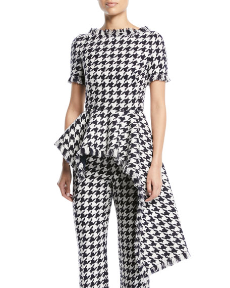 Oscar de la Renta Houndstooth-Tweed Asymmetric Peplum Top