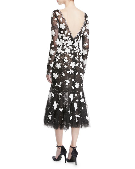 Long-Sleeve Floral-Embroidered Sequined Tulle Lace Cocktail Dress