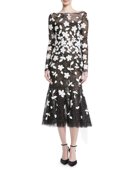 Oscar de la Renta Long-Sleeve Floral-Embroidered Sequined Tulle