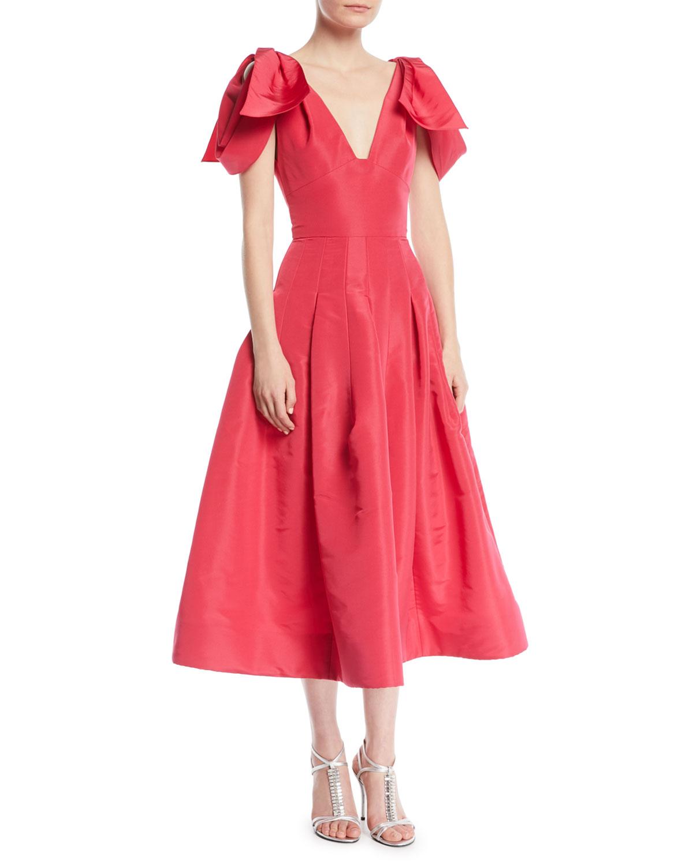 6f062a12878 Oscar de la Renta V-Neck Bow-Shoulder Fit-and-Flare Tea-Length Silk ...