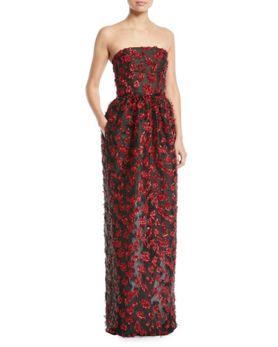 de6414af12 Oscar de la Renta Strapless Embellished Fil Coupe 2-Pocket Evening Gown