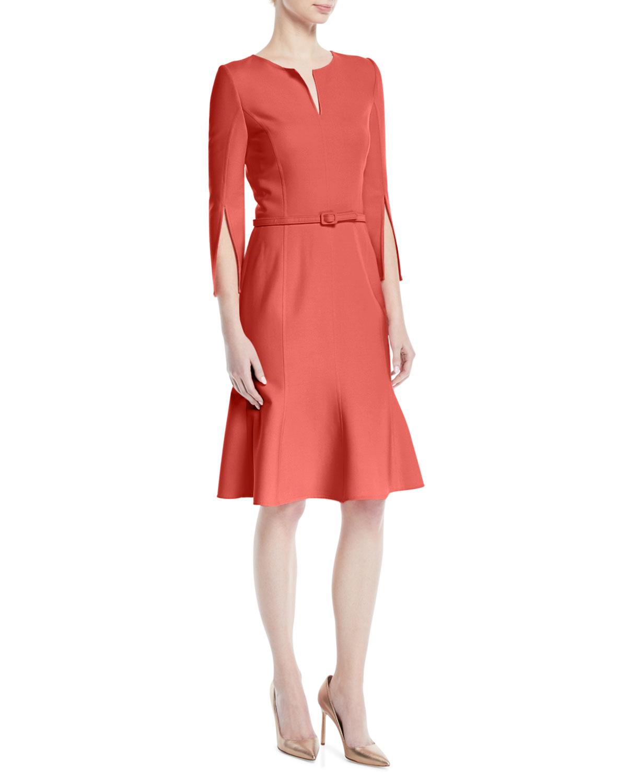 dd166d43f4 Oscar de la RentaBelted Stretch-Wool Dress with Slit Neckline   Sleeves