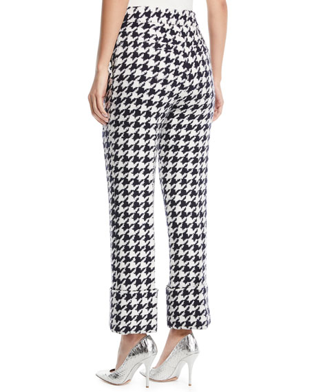 Cropped Straight-Leg Houndstooth Tweed Pants