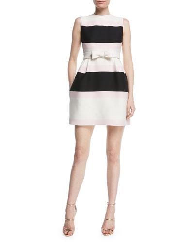 Sleeveless Belted Striped Fit-and-Flare Cocktail Dress