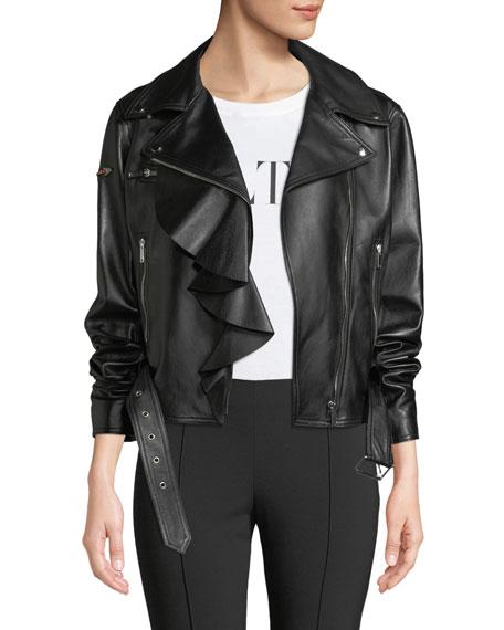 Valentino Napa Plonge Ruffle-Detail Leather Jacket w/ Love