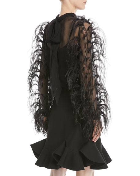 Ostrich-Feather Long-Sleeve Silk Chiffon Blouse
