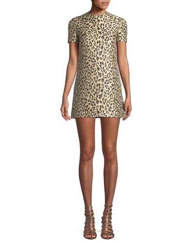 Jewel-Neck Short-Sleeve Metallic Leopard-Brocade A-Line Dress