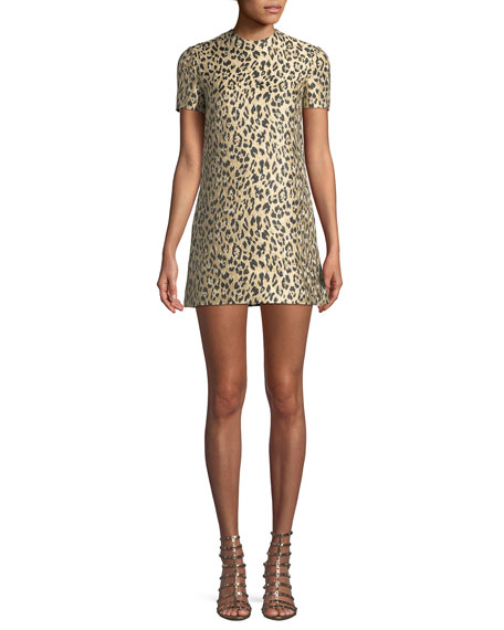 Jewel-Neck Short-Sleeve Metallic Leopard-Brocade A-Line Dress
