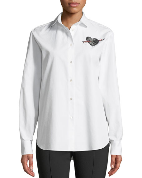 Long-Sleeve Button-Front Poplin Shirt With Love-Heart Embroidery, White