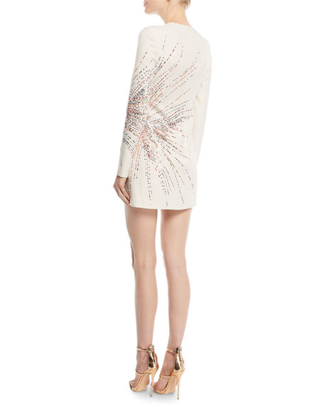 Image 2 of 2: Long-Sleeve Starburst-Sequin Crepe Couture Mini Dress