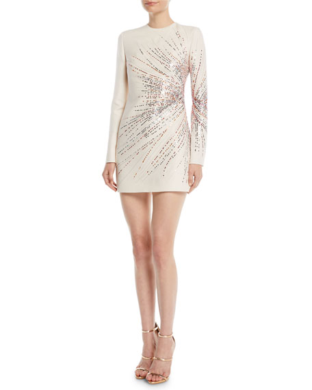 Image 1 of 2: Long-Sleeve Starburst-Sequin Crepe Couture Mini Dress