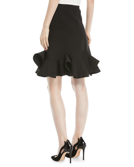 A-Line Crepe Couture Knee-Length Skirt with Ruffle Hem