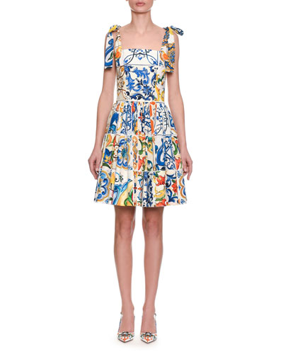 Sleeveless Fit-and-Flare Tile Print Cotton Dress w/ Ties