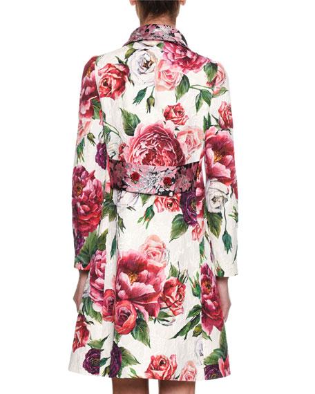 Long-Sleeve Rose Peony Jacquard Brocade Coat