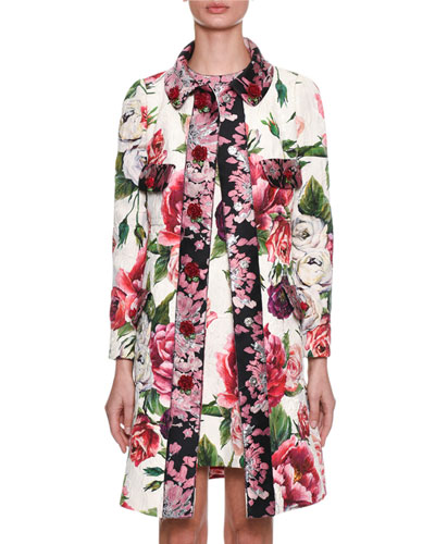 Long-Sleeve Rose Peony Jacquard Brocade Coat