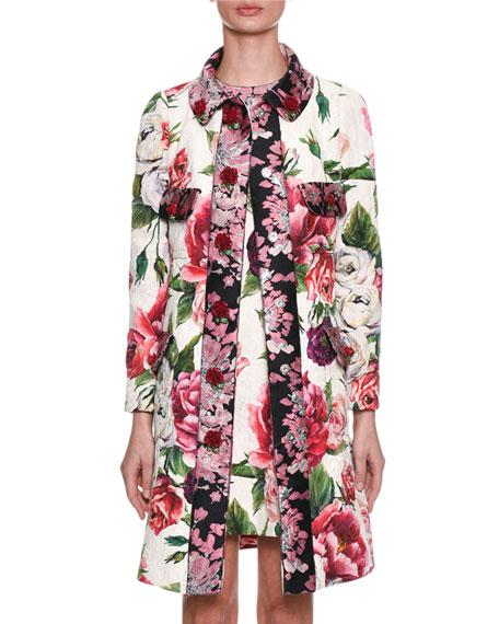 Dolce & Gabbana Long-Sleeve Rose Peony Jacquard Brocade