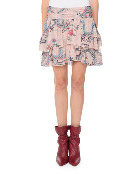 Striped-Metallic Dragon-Print Tiered Mini Skirt