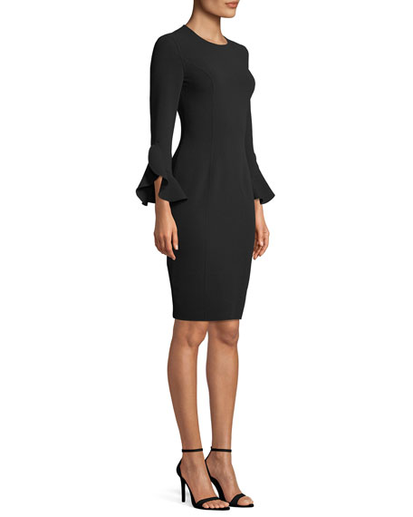 Jewel-Neck Ruffle-Sleeve Stretch-Wool Crepe Sheath Dress