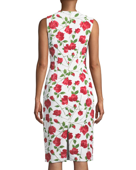 Sleeveless Stemmed-Rose Print Stretch-Cady Sheath Dress