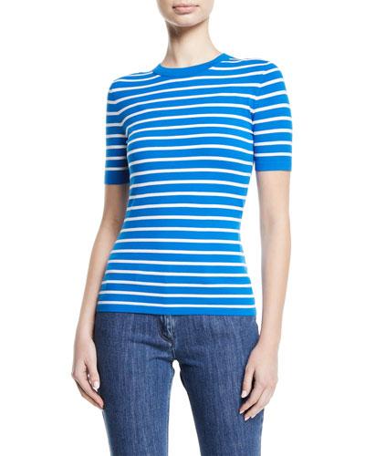 Crewneck Short-Sleeve Striped Stretch-Viscose Top