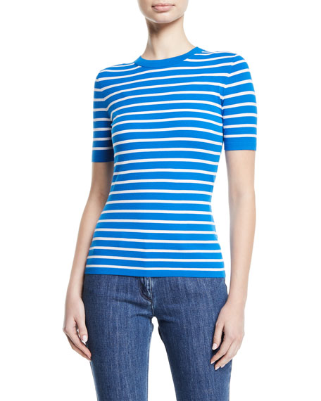 Michael Kors Crewneck Short-Sleeve Striped Stretch-Viscose Top