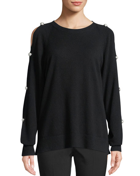 Michael Kors Collection Cold-Shoulder Cashmere Pullover with Pearlescent Buttons