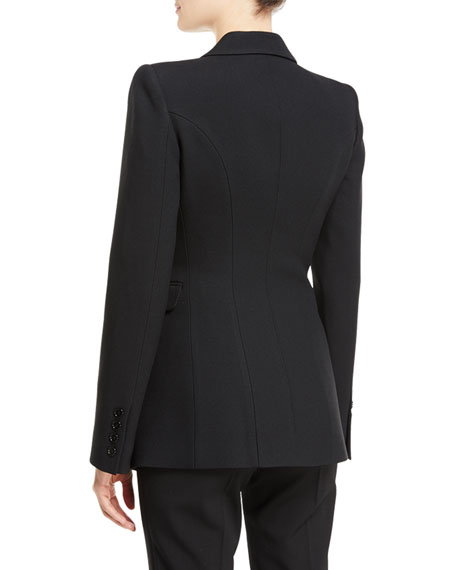 Two-Button Peak-Lapel Crepe Sable Blazer
