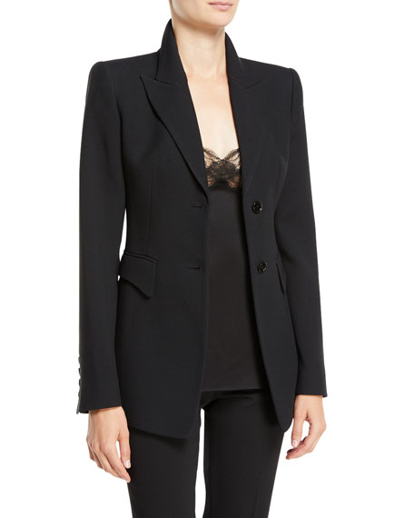 Michael Kors Collection Two-Button Peak-Lapel Crepe Sable Blazer