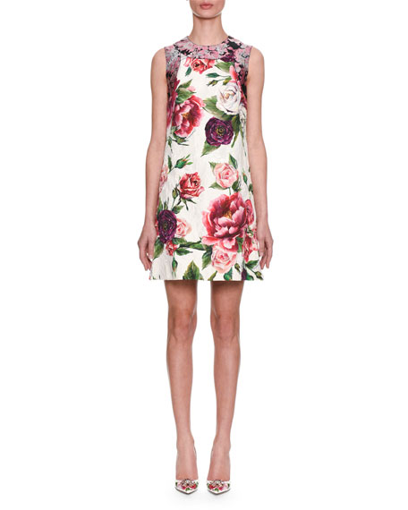 Sleeveless Rose Peony Jacquard & Brocade Shift Day Dress