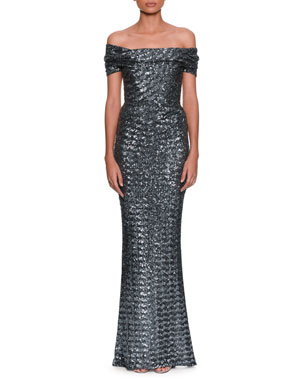 b8944e07d6a2 Dolce   Gabbana Off-the-Shoulder Embroidered Paillette Evening Gown