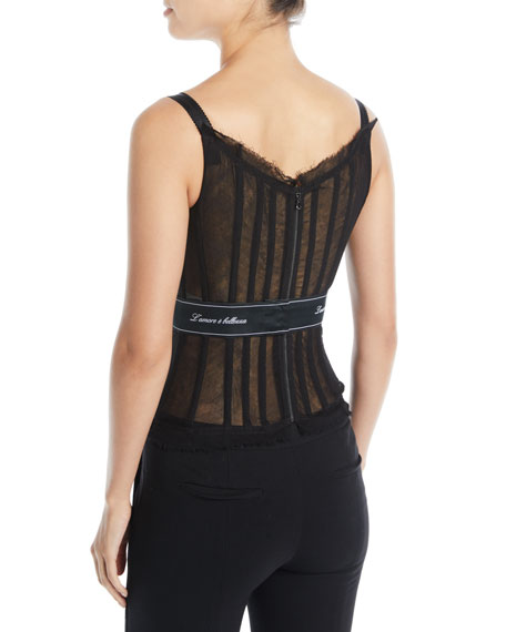 Thin-Strap Tulle Bustier w/ L'Amore E' Bellisima Waistband
