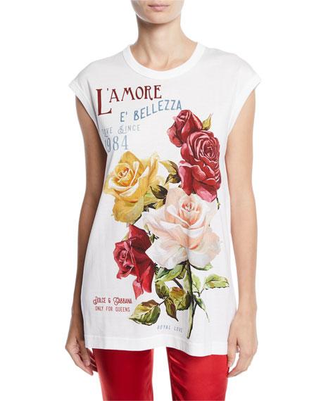 Cap-Sleeve Rose-Print L'Amore E' Bellezza Jersey T-Shirt