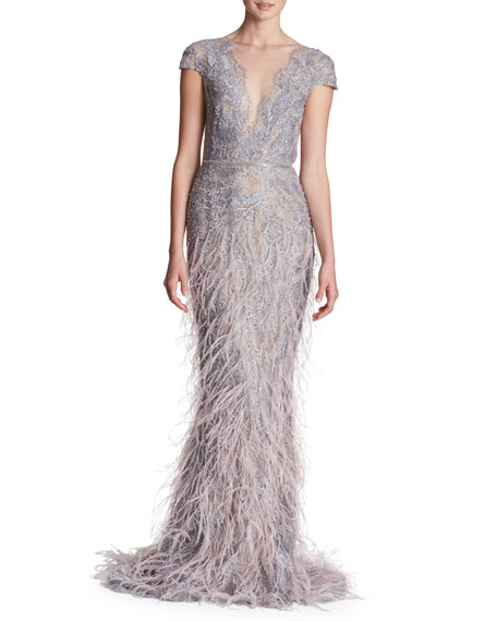 Sleeveless Plunging Fully Beaded & Ostrich Feather Evening Gown