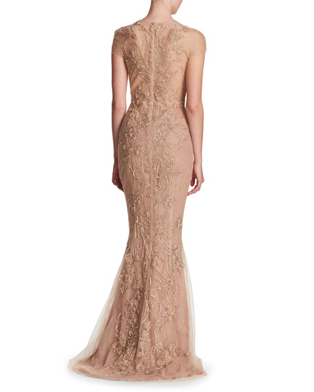Illusion-Neck Beaded Embroidered Top with Layered Tulle Skirt Evening Gown