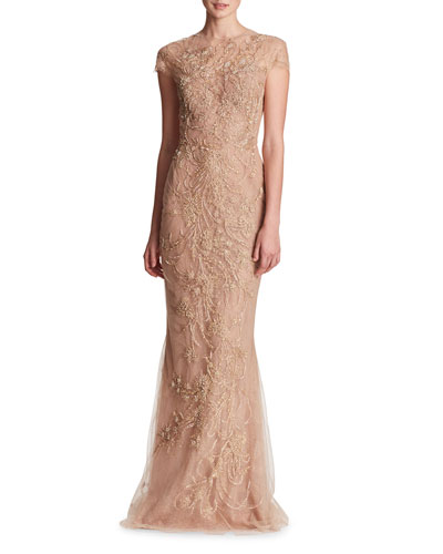 Illusion Neckline Metallic Outlined Wheat and Leaf Threadwork Embroidered Tulle Column Gown