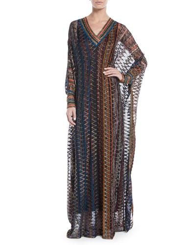 V-Neck Long-Sleeve 3-D Metallic Zigzag Long Kaftan Gown