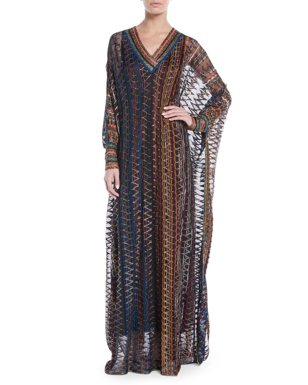 Missoni V-Neck Long-Sleeve 3-D Metallic Zigzag Long Kaftan Gown ...