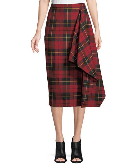 Asymmetric Plaid Virgin Wool Pencil Skirt