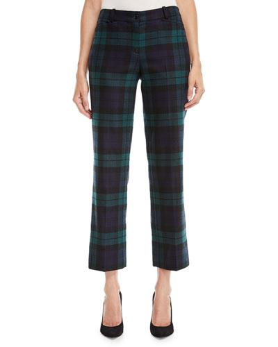 Cropped Tartan Straight-Leg Trousers