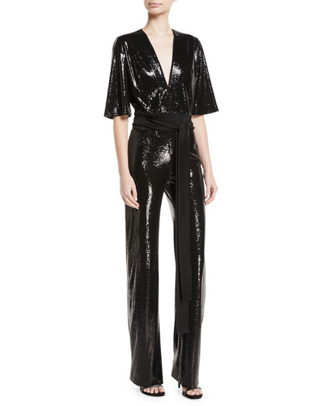 sale usa online discount up to 60% uk availability Elbow-Sleeve Deep-V Tie-Waist Stretch-Sequin Jumpsuit