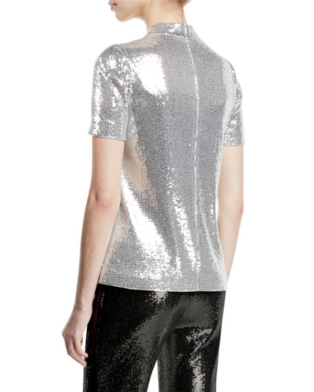 Mock-Neck Stretch Sequin Galaxy Top