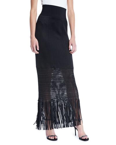 Vesper High-Shine Knit Jersey Long Skirt w/ Fringe Hem