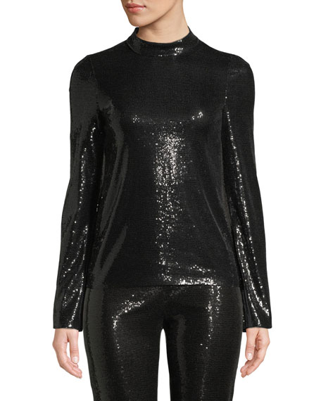 Long-Sleeve Mock-Neck Stretch-Sequin Top