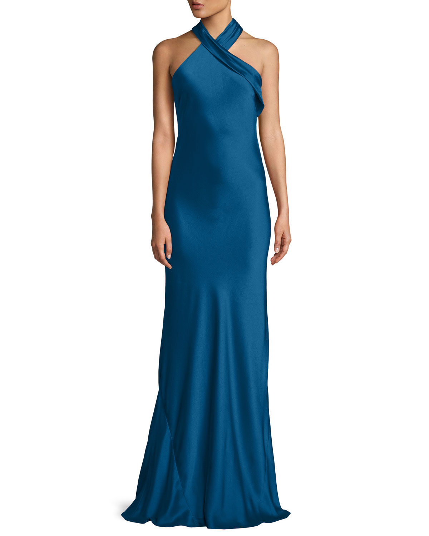 Galvan Halter Neck Sleeveless Silk Satin Evening Gown Neiman Marcus