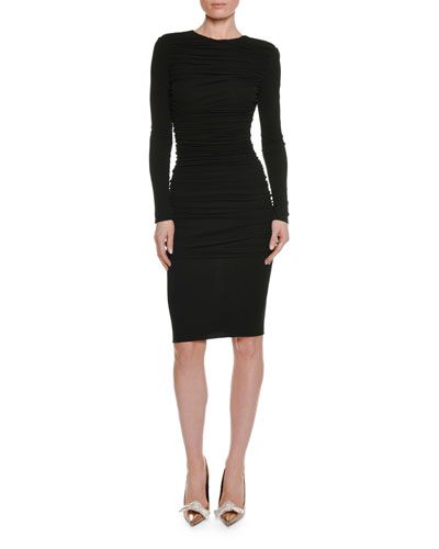 Long-Sleeve Ruched Viscose-Crepe Pencil Dress