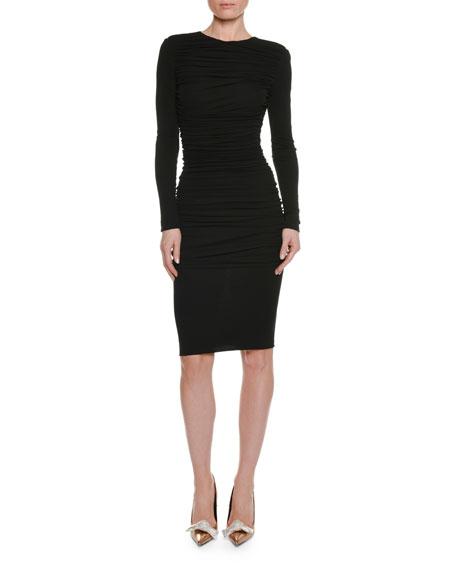 Long-Sleeve Ruched Viscose-Crepe Pencil Dress