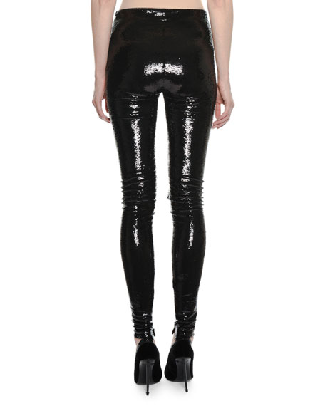Liquid-Sequin Full-Length Leggings